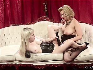 slender girl-on-girl spanked and booty nailed