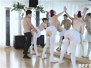 hung Bambino stretches the pussyhole of three handsome ballerinas