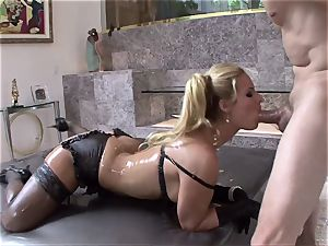 Phoenix Marie get her body filled with lubricant